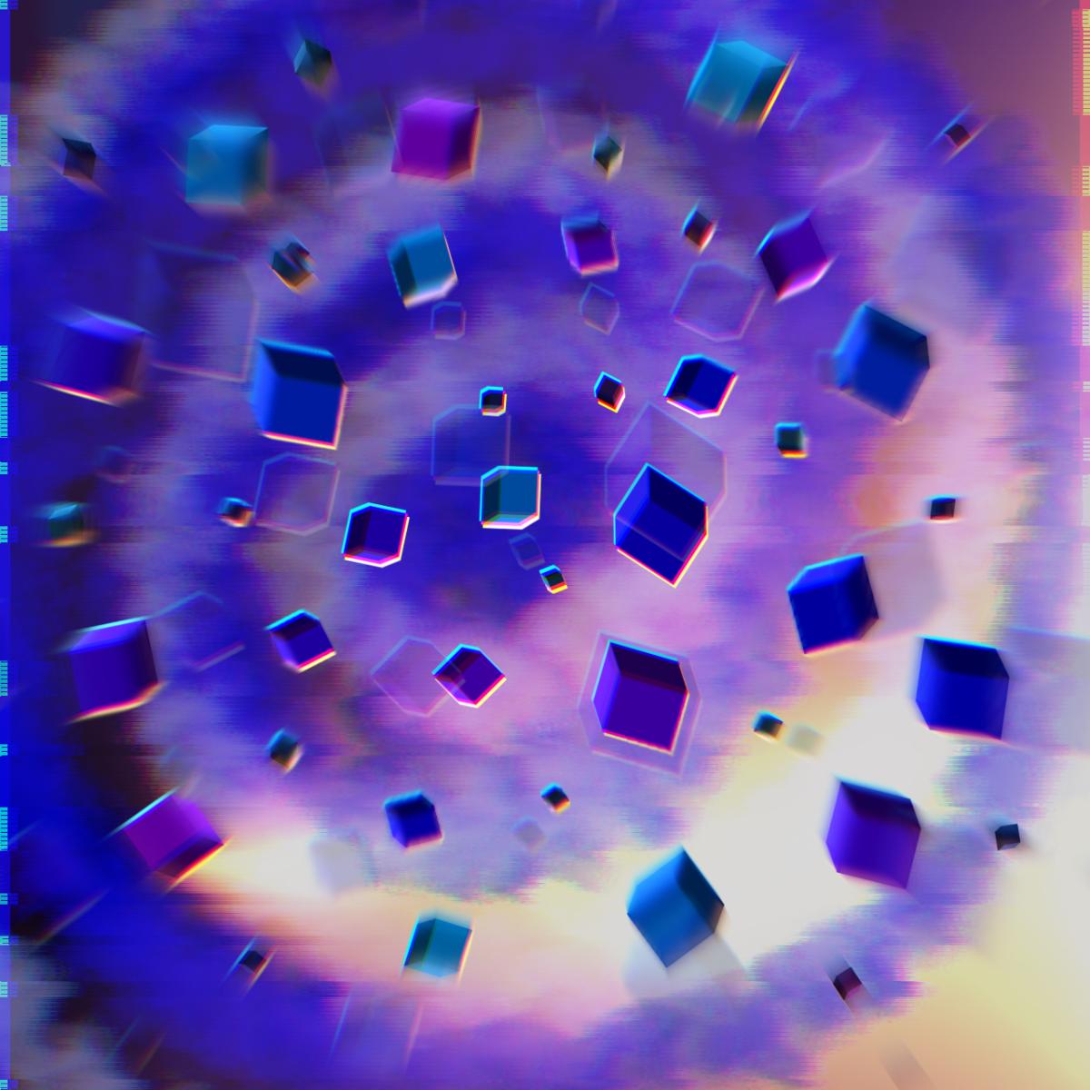 Blue cube field in space