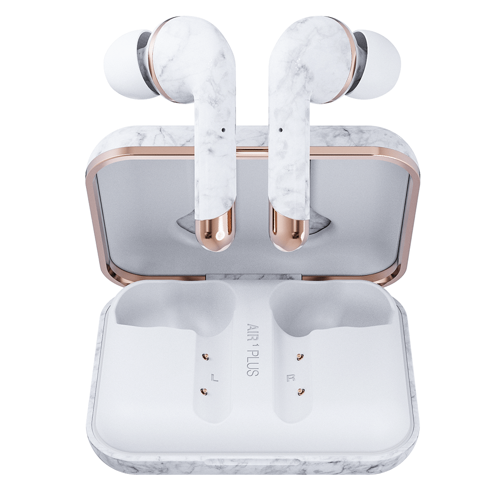 Wholesale cell phone accessory Happy Plugs - Air 1 Plus In Ear Headphones - White Marble