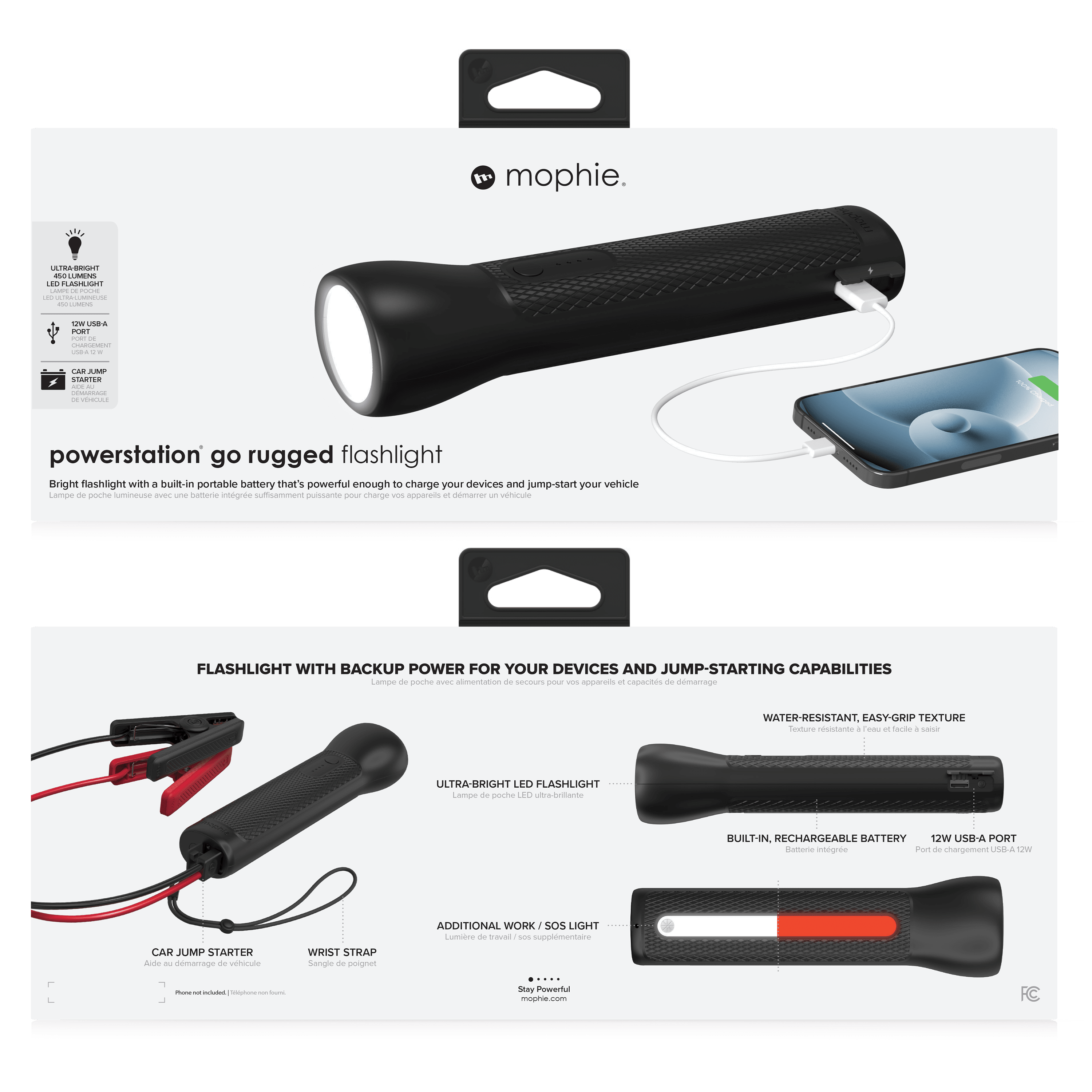 Wholesale cell phone accessory mophie - Powerstation Go Rugged Flashlight Power Bank 9,900