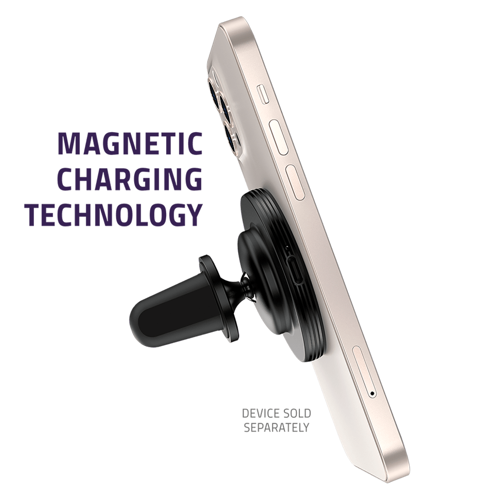 Wholesale cell phone accessory Qmadix - Magnetic Vent Mount Wireless Charging Kit 15W - Black