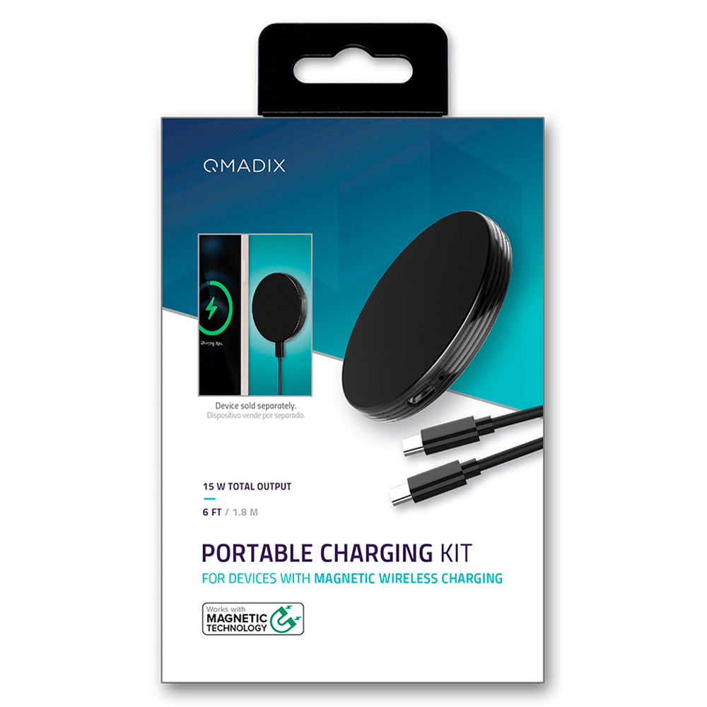 Wholesale cell phone accessory Qmadix - Portable Magnetic Wireless Charger 15W and USB C Cable
