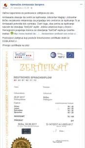 """njemačko veleposlanstvo redovno upozorava na lažne i nevažeće certifikate. U Mostaru se slični """"certifikati"""" prodaju već od 75KM!"""