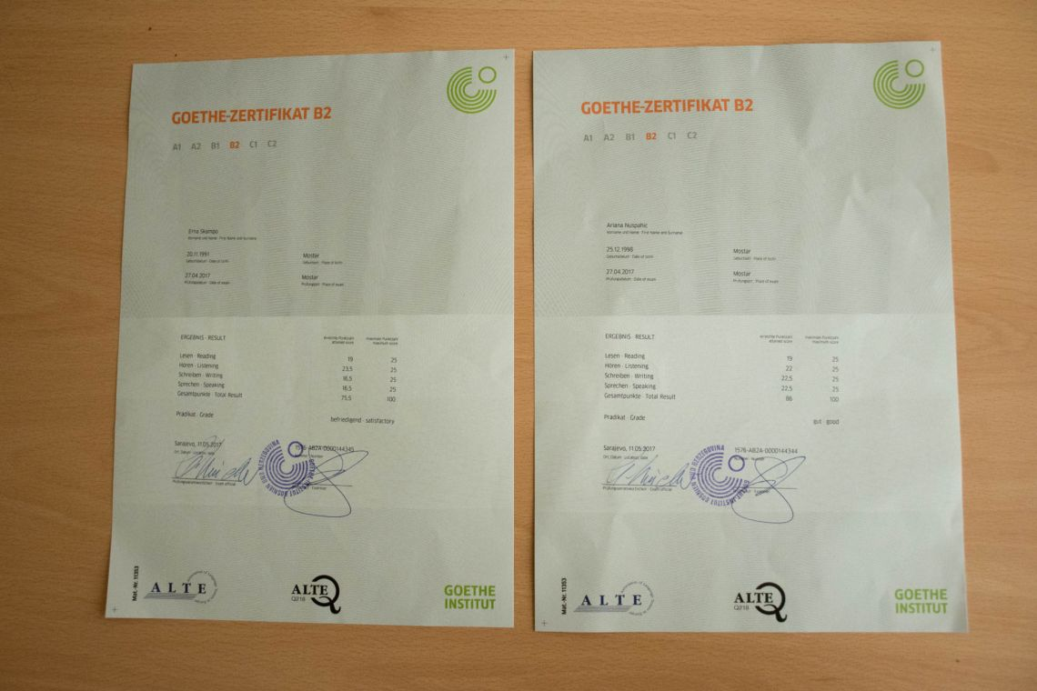 Ariana i Erna su položile Ispit Goethe-Instituta