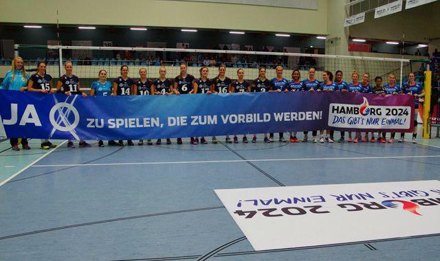 VT Aurubis Hamburg brennt Feuerwerk gegen VC Wiesbaden ab - Foto: VT Aurubis