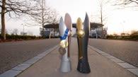 Die DVV-Pokale der Frauen und Männer vor der SAP Arena Mannheim  Foto: Conny Kurth