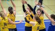 Verabschiedet sich mit einem Podiumsplatz zum Saisonende: Das Volleyballteam DSHS SnowTrex Köln Foto: Martin Miseré