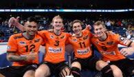 Jubel über den Sieg beim comdirect Supercup bei den Spielern der BERLIN RECYCLING Volleys  Foto: Conny Kurth
