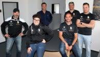 v.l.n.r.: Stefan Braunsdorf (Physiotherapeut), Johannes Esser (Scout), Dr. med Michael Neuß (Mannschaftsarzt), Eelco Beijl (Cheftrainer), Bart Jansen (Co-Trainer), Christian Mohr (Scout)  Foto: Ladies in Black Aachen