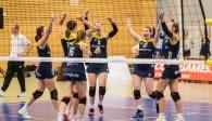 Hatten ab dem zweiten Satz Spaß an der Partie gegen den Meister: Die Zweitliga-Volleyballerinnen vom Team DSHS SnowTrex Köln Foto: Martin Miseré