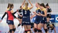 Würde am kommenden Samstag gerne ein zweites Mal gegen Essen jubeln: Das Volleyballteam DSHS SnowTrex Köln  Foto: Martin Miseré