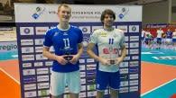 Die beiden Mittelblocker Lennart Heckel (links) von Friedrichshafen und Jerome Ptock von Leipzig taten sich als MVPs aus der Partie hervor. Foto: Gunthild Schulte-Hoppe