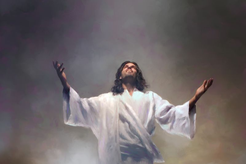 Jesus rising out of the tomb