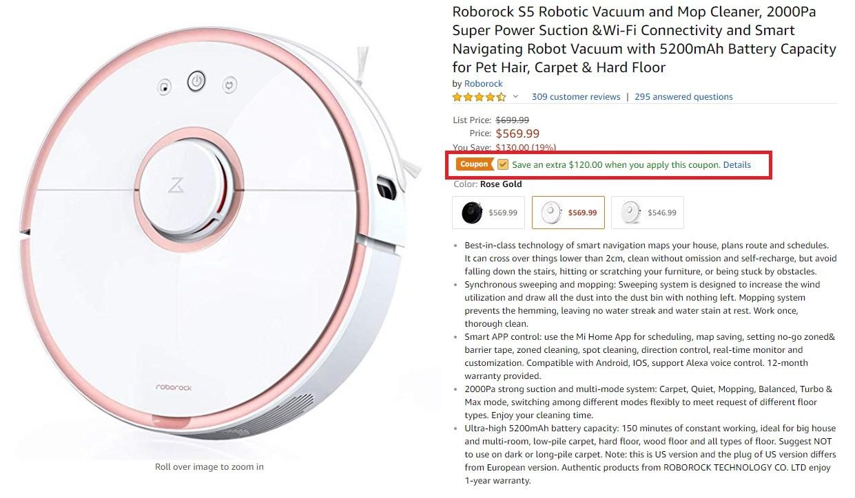 xiaomi roborock s5 - xiaomi roborock s5 120 off coupon - Xiaomi Roborock S5 Robotic Vacuum Amazon Coupon [Rose Gold]