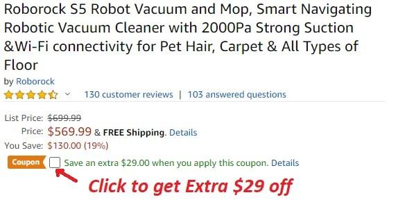 Roborock S5 Robot Vacuum Amazon Coupon Promo Code [Black] – Coupons