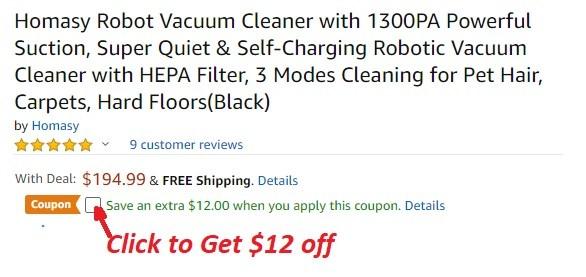 Homasy Robot Vacuum Cleaner coupon - Homasy Robot Vacuum Cleaner Amazon Promo Code