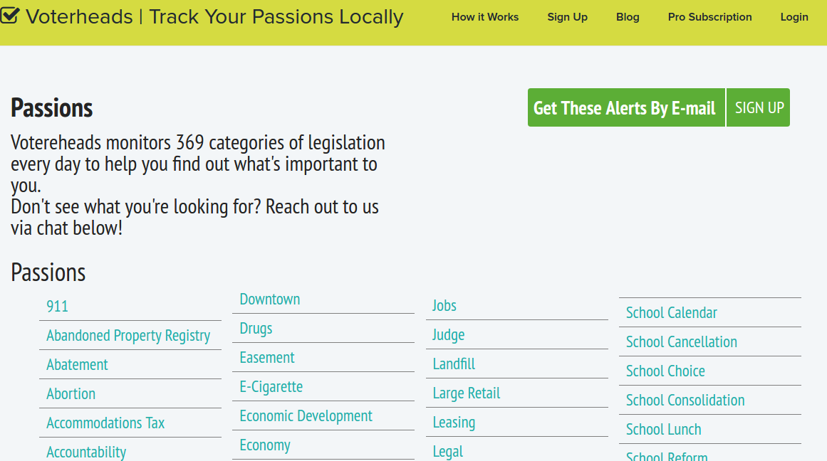 Screenshot of Page showing the complete listing of passions available at Voterheads