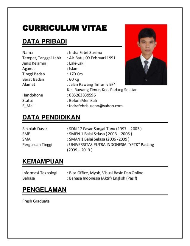 Contoh CV Fresh Graduated
