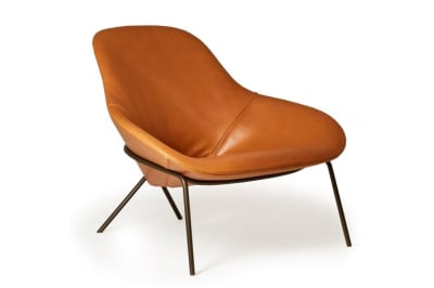 Cross Leg Lounge Chair (Leather)