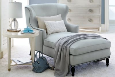 Nadine Chaise Nadine Chaise 6 Nadine Chaise 6.jpg By Bernhardt%5FFabric Upholstery%5FNailhead Trim%5FCurved Back and Arms%5FDecorative feet