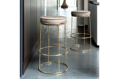 Atollo Stool 65cm: Polished Brass/Venice Sand