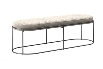 Atollo Bench Otto: Black Nickel/ Venice Sand