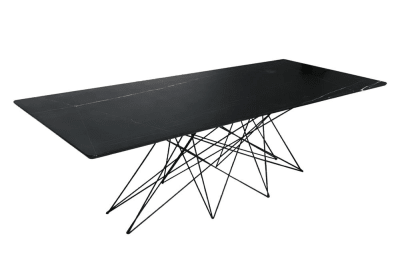 Wired Dining Table 240x100cm: Nero Marquina Marble / Black Matte Steel Base