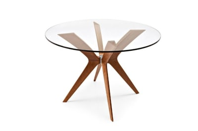 Kent Table 120cmD: Walnut / Transparent Glass