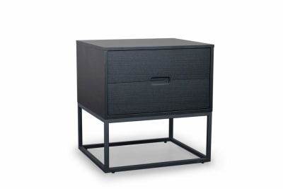 Cubic Side Table (2Drw): Black Oak/Black