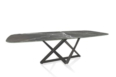 Millennium Table grey and white marble top natural silver base.JPG Millennium Table 20.96 (250 x120 x75cmH) - In CM006 Grey White Veined Supermarble with M326 Natural Silver Base Millennium Table grey and white marble top natural silver base.JPG