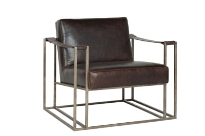 Dekker Armchair: Saddle Brown Leather