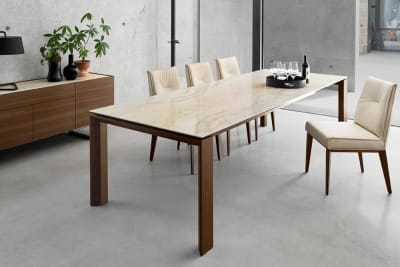 Omnia Table 220(280)x100cm: Walnut / Onyx Marble