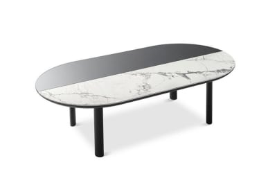Bam Coffee Table: Silk White/Grey Mirror/Black