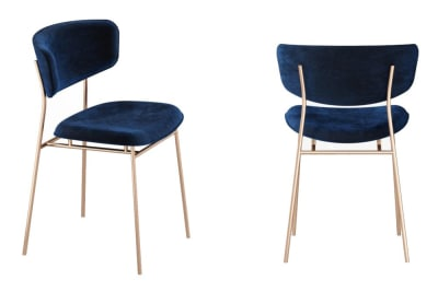 Fifties Chair: Brass/Venice Ocean Blue