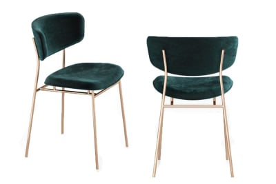 Fifties Chair: Polished Brass/Venice Forest Green