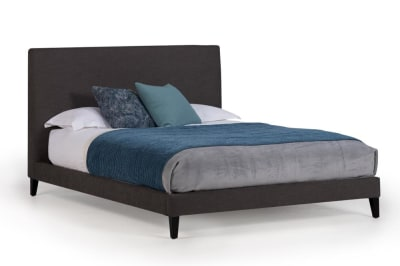 Linear QS Bed Tivoli Charcoal fabric