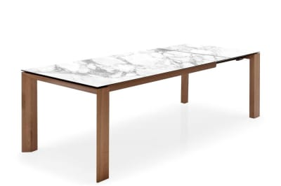 Omnia Table 180(240)x100cm: Walnut/White Marble Ceramic