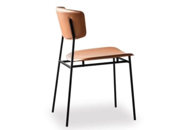 Fifties Chair: Matt Black/Cognac Leather
