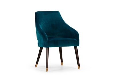 Adele Dining Chair: Peacock Velvet Wenge