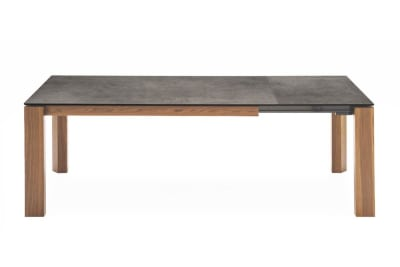 Omnia Table 220(280)x100cm: Walnut/Lead Grey Ceramic