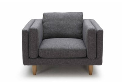 George Armchair in Grey Weave Fabric K09