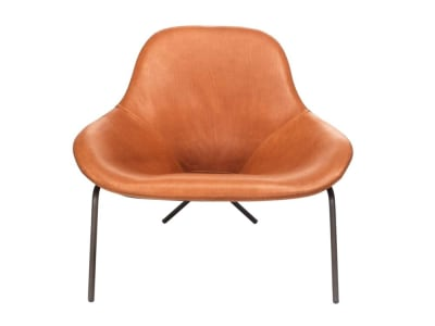 Cross Leg Chair: Tan Leather