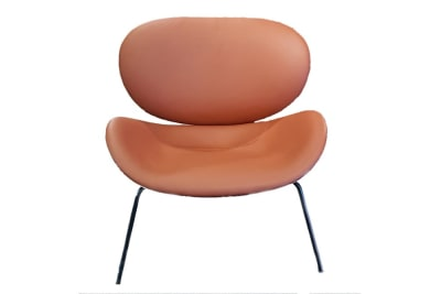 Uchiwa Armchair: Beige/Daino Tan Leather