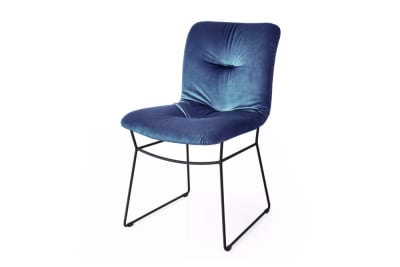 Annie Soft D/Chair Ocean Blue/Met.Black