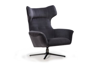 Moro Swivel Chair : Charcoal Velvet