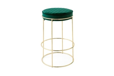 Atollo Stool 65cm:Polished Brass/Forest Green