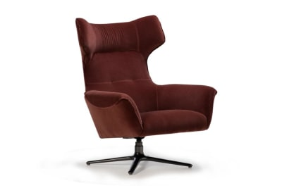 Moro Swivel Chair: Rust Velvet