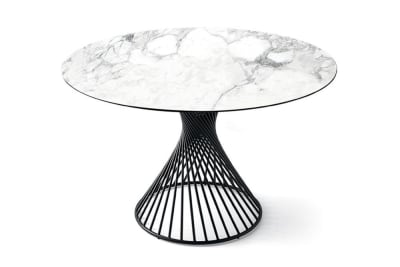 Vortex Table 140cmD: Black/White Marble