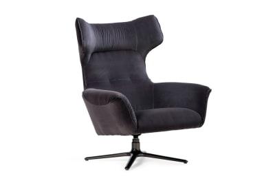 Moro Swivel Chair : Charcoal Velvet