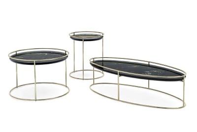 Atollo Table Atollo cs5098 Fam 01 cropped brass portoro nero  Vortex Table Calligaris Metal Glass Ceramic  Vortex Table - Calligaris - cs4108 - Round Table - Smoke Glass Ceramic Stone Marble Table Helical design