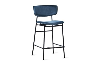 Fifties Stool (65) - Black/Venice Blue